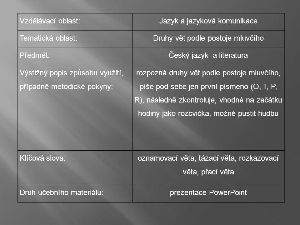 Vzdělávací oblast:Jazyk a jazyková komunikace Tematická oblast:Druhy vět podle postoje mluvčího Předmět:Český jazyk a literatura Výstižný popis způsobu využití, případně metodické pokyny: rozpozná druhy vět podle postoje mluvčího, píše pod sebe jen první písmeno (O, T, P, R), následně zkontroluje, vhodné na začátku hodiny jako rozcvička, možné pustit hudbu Klíčová slova: oznamovací věta, tázací věta, rozkazovací věta, přací věta Druh učebního materiálu:prezentace PowerPoint