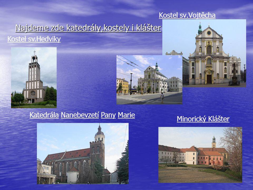 Najdeme zde katedrály,kostely i klášter Kostel sv.Vojtěcha Minorický Klášter Katedrála Nanebevzetí Pany Marie Kostel sv.Hedviky