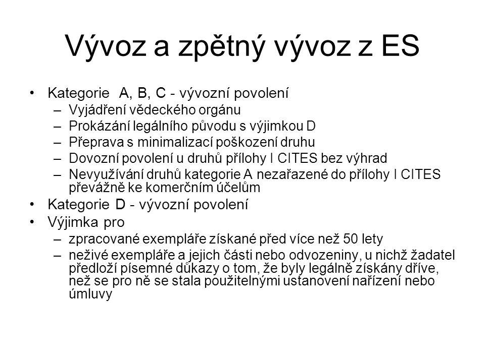 Vývoz a zpětný vývoz z ES Kategorie A, B, C - vývozní povolení –Vyjádření vědeckého orgánu –Prokázání legálního původu s výjimkou D –Přeprava s minima