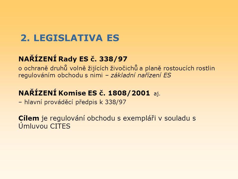 2. LEGISLATIVA ES NAŘÍZENÍ Rady ES č. 338/97 o ochraně druhů volně žijících živočichů a planě rostoucích rostlin regulováním obchodu s nimi – základní