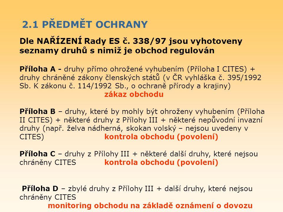 Dle NAŘÍZENÍ Rady ES č. 338/97 jsou vyhotoveny seznamy druhů s nimiž je obchod regulován Příloha A - druhy přímo ohrožené vyhubením (Příloha I CITES)