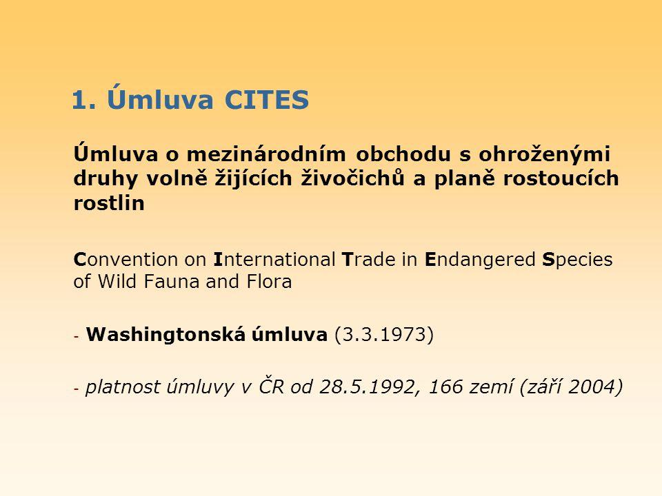 1. Úmluva CITES Úmluva o mezinárodním obchodu s ohroženými druhy volně žijících živočichů a planě rostoucích rostlin Convention on International Trade