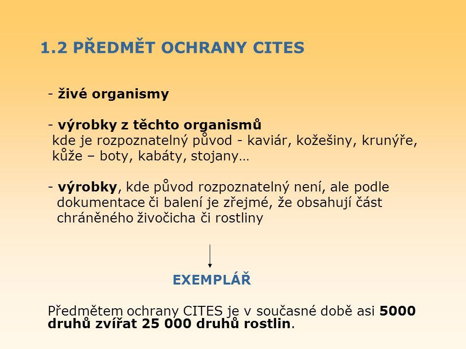 1.2 PŘEDMĚT OCHRANY CITES - živé organismy - výrobky z těchto organismů kde je rozpoznatelný původ - kaviár, kožešiny, krunýře, kůže – boty, kabáty, s
