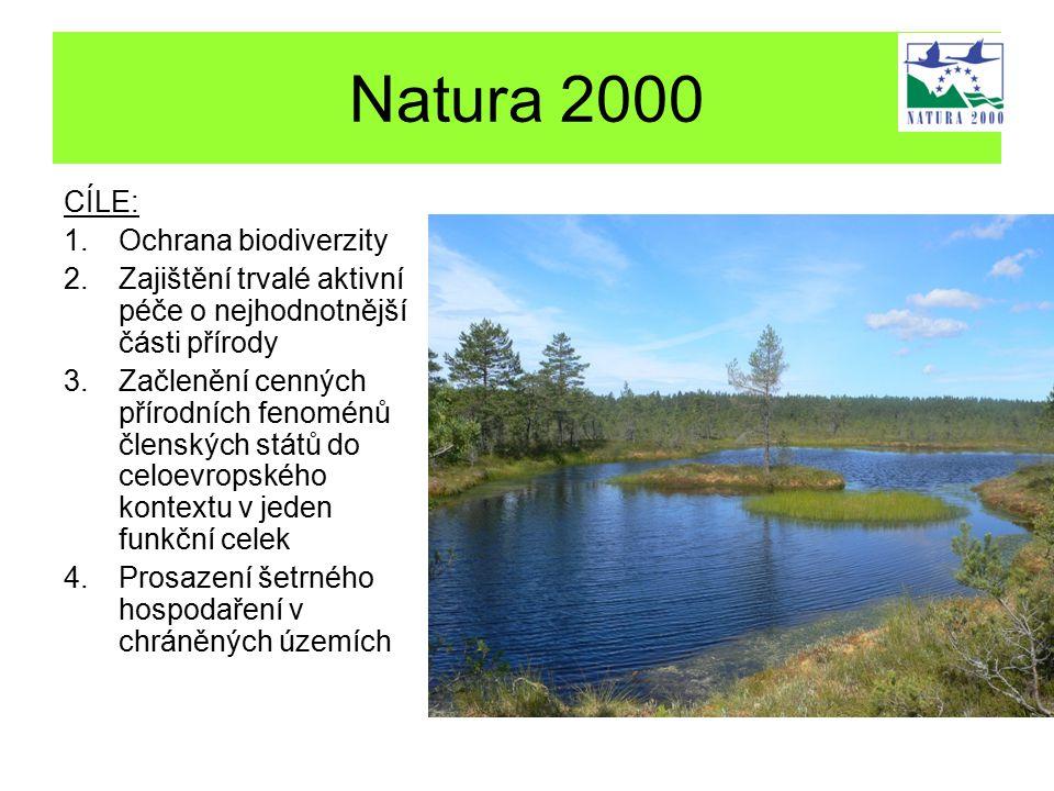 Natura 2000 CÍLE: 1.Ochrana biodiverzity 2.Zajištění trvalé aktivní péče o nejhodnotnější části přírody 3.Začlenění cenných přírodních fenoménů členských států do celoevropského kontextu v jeden funkční celek 4.Prosazení šetrného hospodaření v chráněných územích