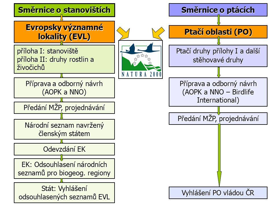 Směrnice o ptácích Směrnice o stanovištích Evropsky významné lokality (EVL) Ptačí oblasti (PO) příloha I: stanoviště příloha II: druhy rostlin a živočichů Ptačí druhy přílohy I a další stěhovavé druhy Národní seznam navržený členským státem EK: Odsouhlasení národních seznamů pro biogeog.