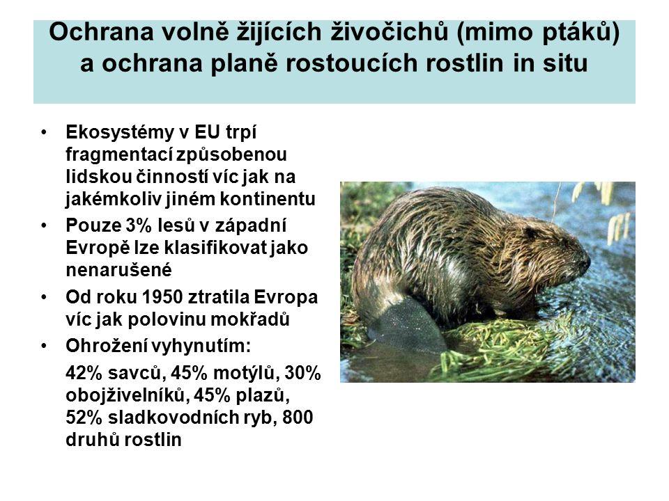 Ochrana volně žijících živočichů (mimo ptáků) a ochrana planě rostoucích rostlin in situ Ekosystémy v EU trpí fragmentací způsobenou lidskou činností víc jak na jakémkoliv jiném kontinentu Pouze 3% lesů v západní Evropě lze klasifikovat jako nenarušené Od roku 1950 ztratila Evropa víc jak polovinu mokřadů Ohrožení vyhynutím: 42% savců, 45% motýlů, 30% obojživelníků, 45% plazů, 52% sladkovodních ryb, 800 druhů rostlin