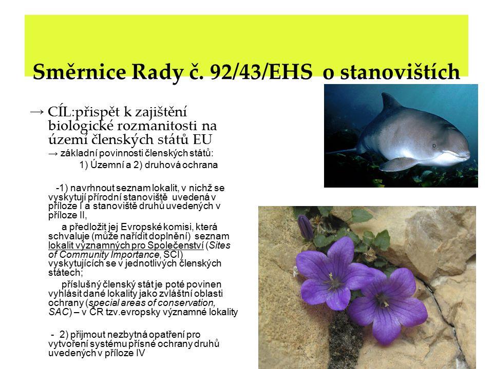 Územní ochrana přírodních stanovišť podle směrnice č.92/43/EHS 1) podle Přílohy I.směrnice – habitaty (cca.225) 2) podle Přílohy II.směrnice – biotopy vybraných druhů (cca.800) Ad 1): habitaty - ohrožené - vzácné - výjimečné v rámci biogeografických regionů Ad 2): druhy - ohrožené - zranitelné - vzácné Pro 1) a 2) se vymezují tzv.