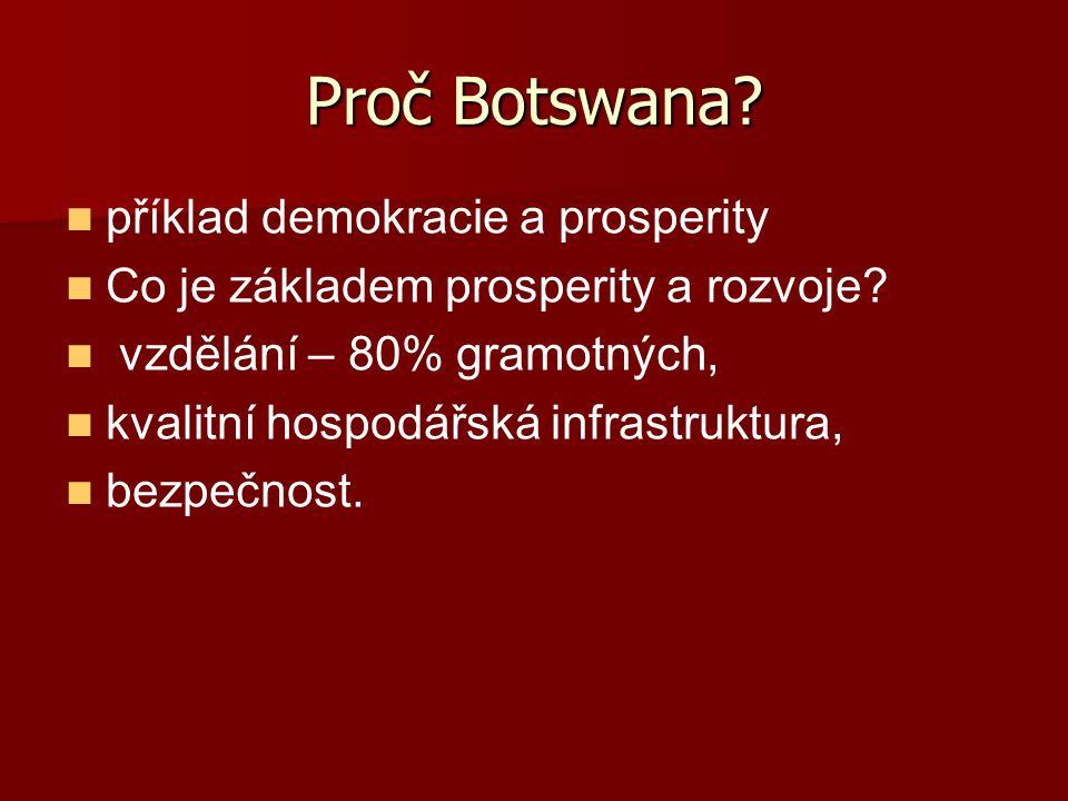 Proč Botswana? příklad demokracie a prosperity Co je základem prosperity a rozvoje? vzdělání – 80% gramotných, kvalitní hospodářská infrastruktura, be