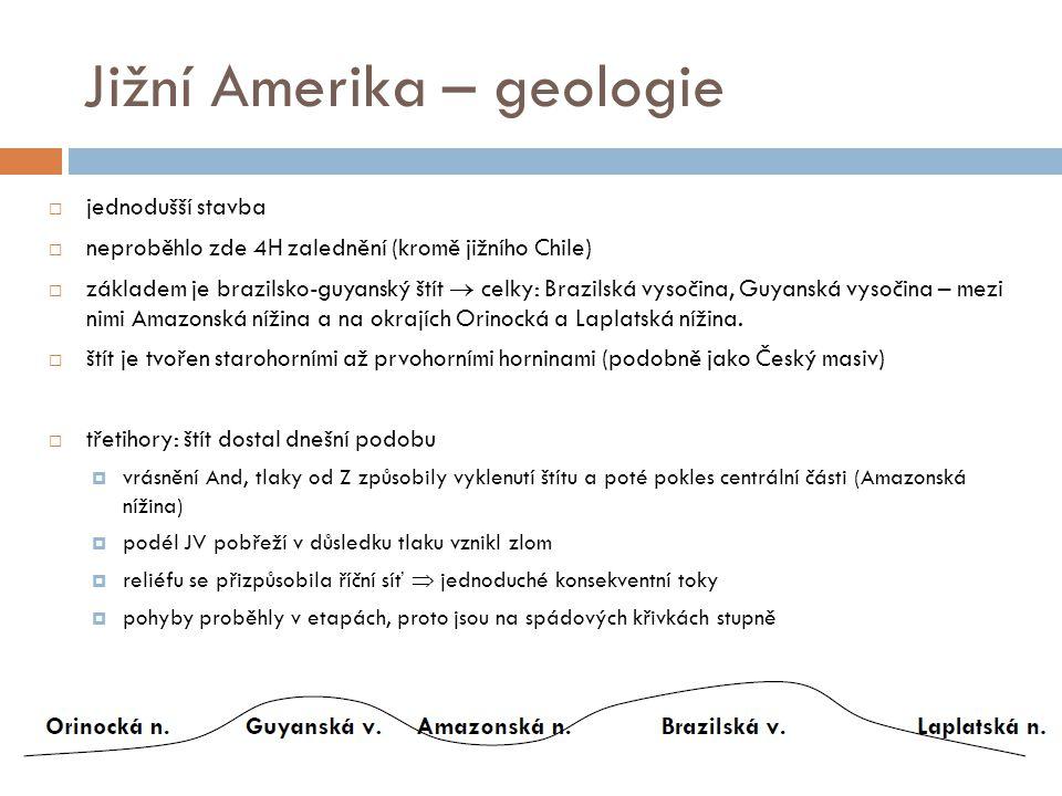 Jižní Amerika – geologie  jednodušší stavba  neproběhlo zde 4H zalednění (kromě jižního Chile)  základem je brazilsko-guyanský štít  celky: Brazil