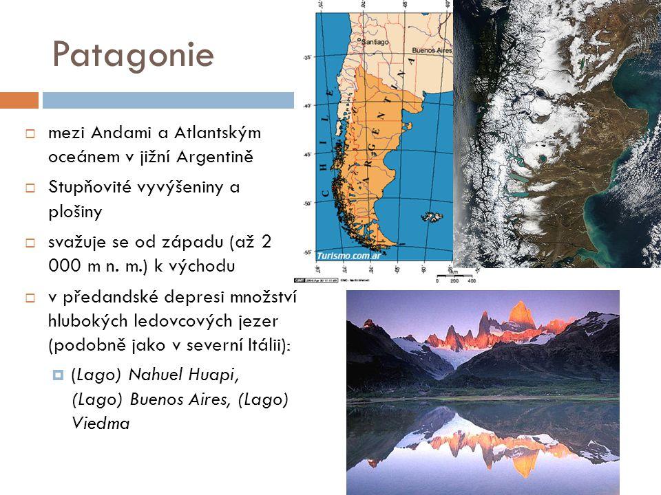 Patagonie  mezi Andami a Atlantským oceánem v jižní Argentině  Stupňovité vyvýšeniny a plošiny  svažuje se od západu (až 2 000 m n. m.) k východu 