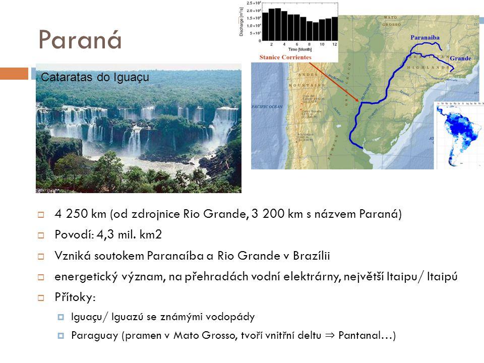 Paraná  4 250 km (od zdrojnice Rio Grande, 3 200 km s názvem Paraná)  Povodí: 4,3 mil. km2  Vzniká soutokem Paranaíba a Rio Grande v Brazílii  ene
