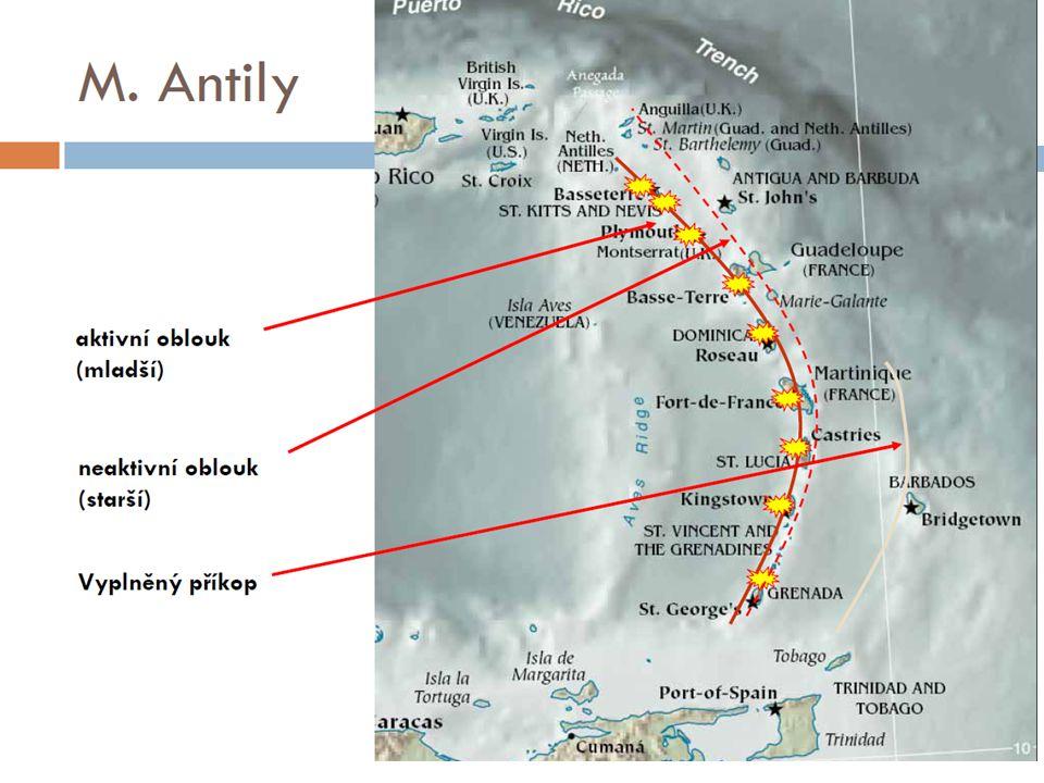 """Karibské ostrovy – 3 oblouky  Vnitřní antilský oblouk (""""závětrný )  Vulkanická aktivita  Většina Malých Antil (Grenada, Martinik,...)  Střední antilský oblouk  geologicky pokračování středoamerických pohoří  většina Velkých Antil (část Jamajky,část Kuby, Hispaniola/Haiti, Portoriko,...)  Vnější antilský oblouk (""""návětrný )  vápencové, krasové jevy  Západní Jamajka, část Kuby, Barbados (geologicky shodný i Yucatan)"""