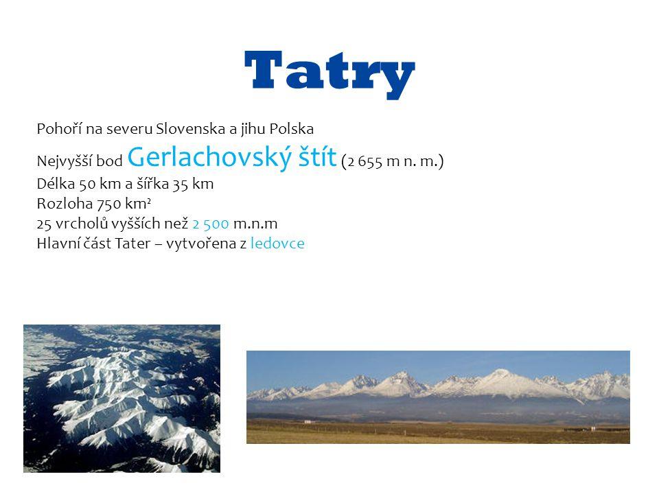 Tatry Pohoří na severu Slovenska a jihu Polska Nejvyšší bod Gerlachovský štít (2 655 m n. m.) Délka 50 km a šířka 35 km Rozloha 750 km² 25 vrcholů vyš