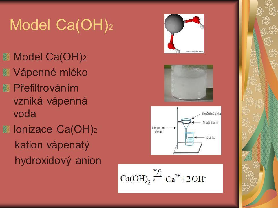 Model Ca(OH) 2 Vápenné mléko Přefiltrováním vzniká vápenná voda Ionizace Ca(OH) 2 kation vápenatý hydroxidový anion