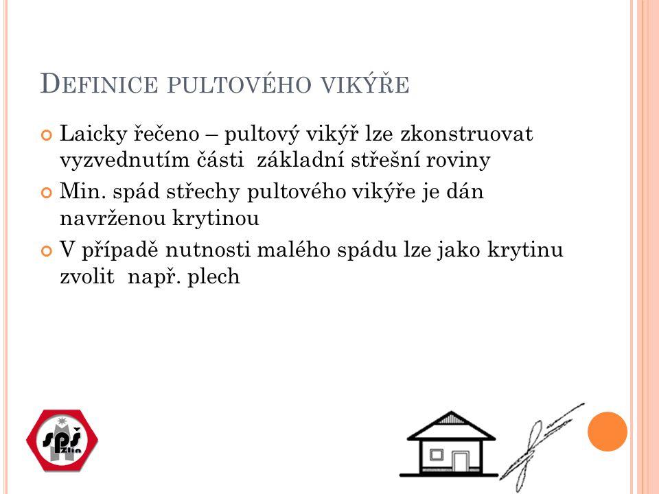 D EFINICE PULTOVÉHO VIKÝŘE Laicky řečeno – pultový vikýř lze zkonstruovat vyzvednutím části základní střešní roviny Min.