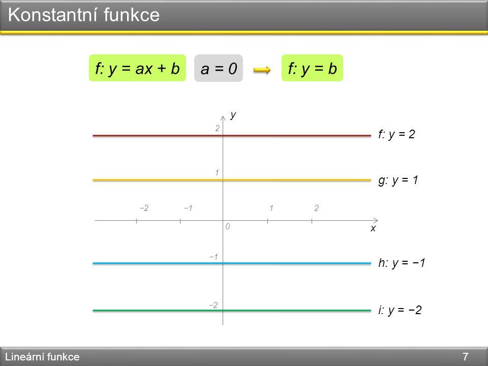 Konstantní funkce Lineární funkce 7 y x 0 −1 1 12−2−1 2 −2 f: y = b a = 0 f: y = ax + b f: y = 2 g: y = 1 h: y = −1 i: y = −2
