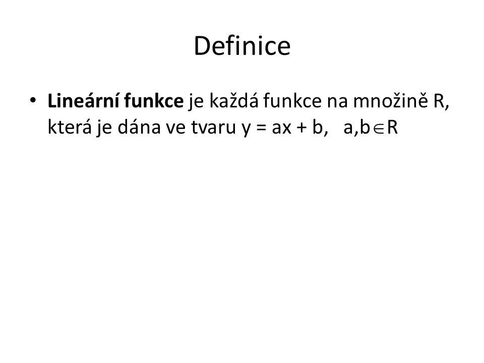 Definice Lineární funkce je každá funkce na množině R, která je dána ve tvaru y = ax + b, a,b  R