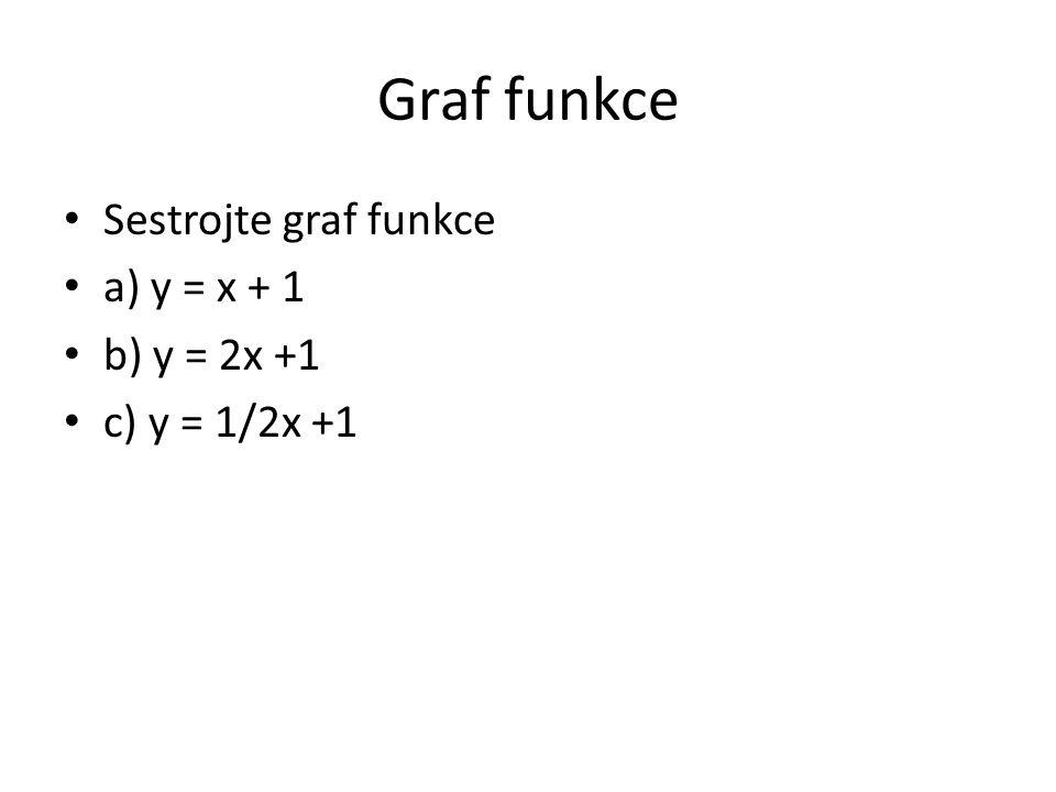 Graf funkce Sestrojte graf funkce a) y = x + 1 b) y = 2x +1 c) y = 1/2x +1
