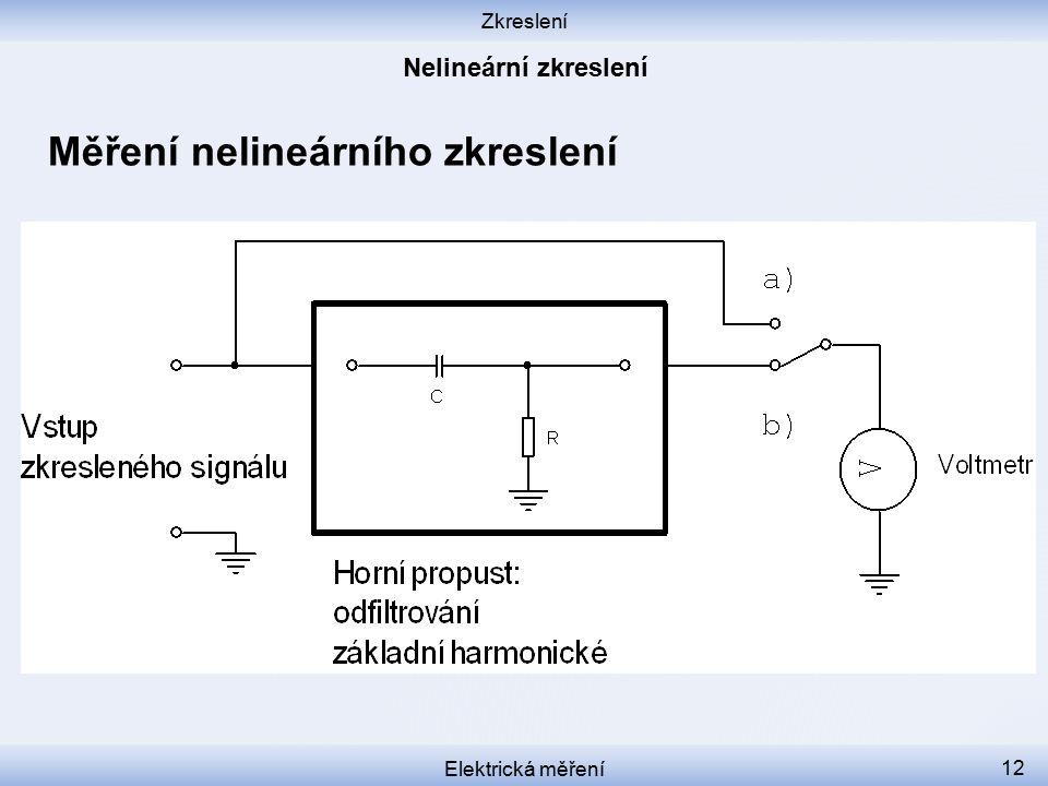 Zkreslení Elektrická měření 12 Měření nelineárního zkreslení