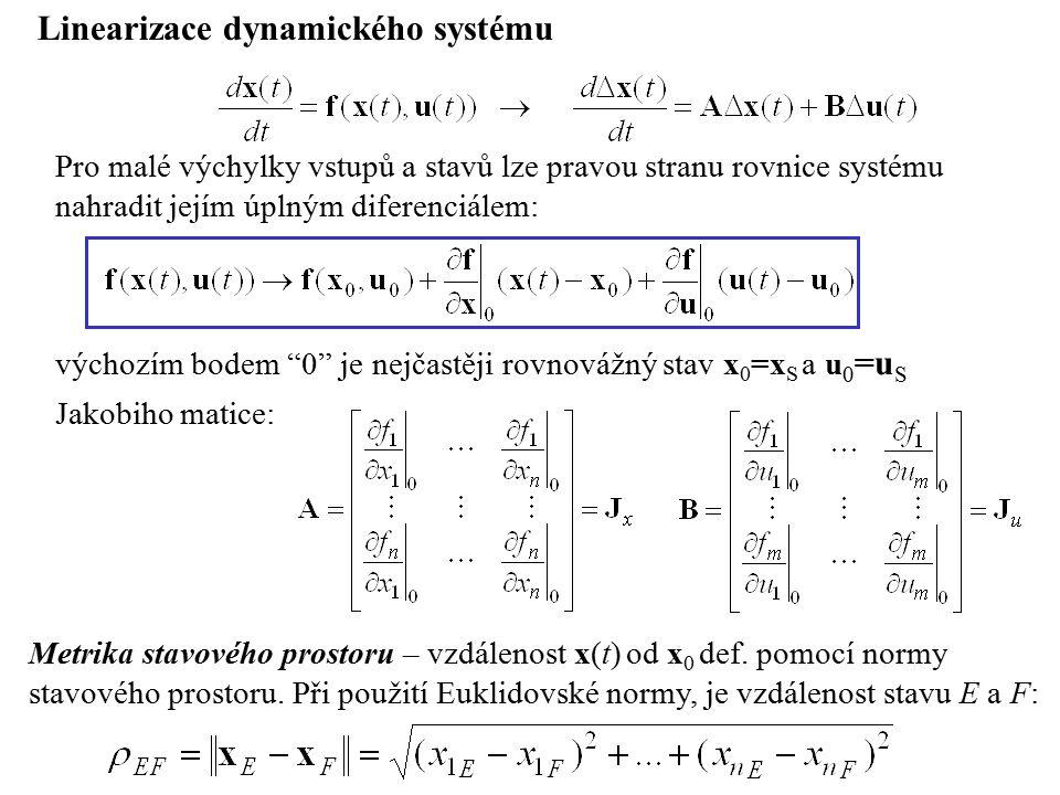 """Linearizace dynamického systému výchozím bodem """"0"""" je nejčastěji rovnovážný stav x 0 =x S a u 0 =u S Pro malé výchylky vstupů a stavů lze pravou stran"""