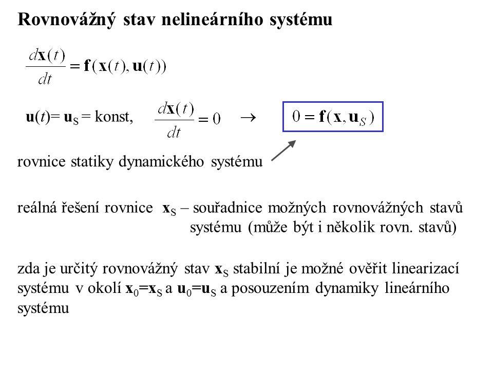 Rovnovážný stav nelineárního systému rovnice statiky dynamického systému u(t)= u S = konst,  reálná řešení rovnice x S – souřadnice možných rovnovážn