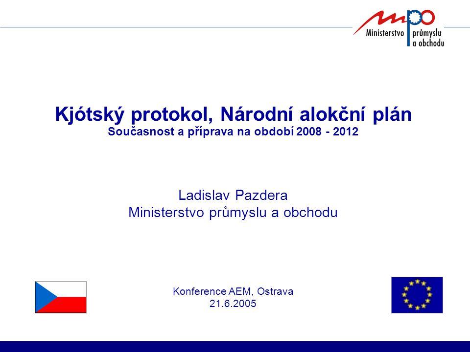 Kjótský protokol, Národní alokční plán Současnost a příprava na období 2008 - 2012 Ladislav Pazdera Ministerstvo průmyslu a obchodu Konference AEM, Os