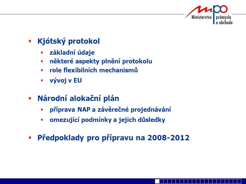  Kjótský protokol  základní údaje  některé aspekty plnění protokolu  role flexibilních mechanismů  vývoj v EU  Národní alokační plán  příprava