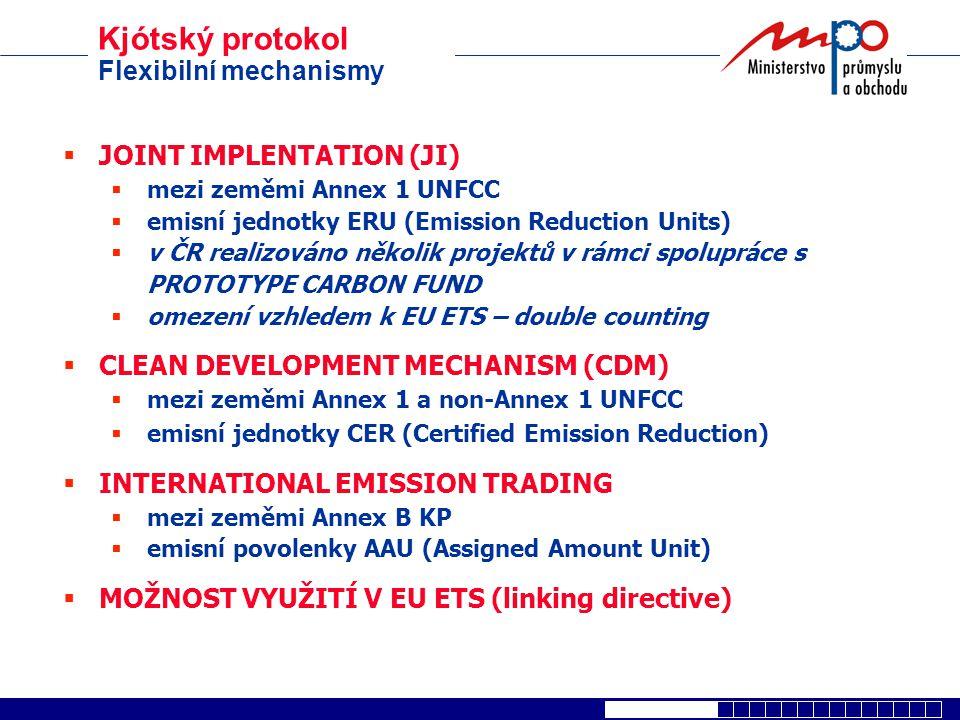  JOINT IMPLENTATION (JI)  mezi zeměmi Annex 1 UNFCC  emisní jednotky ERU (Emission Reduction Units)  v ČR realizováno několik projektů v rámci spo
