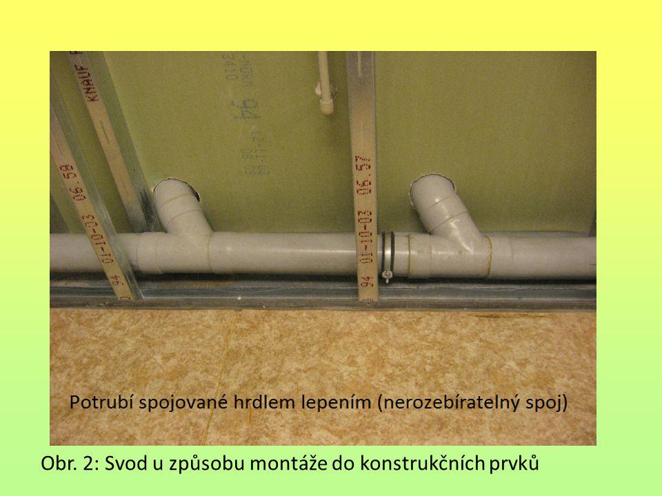 Uložení potrubí Potrubí je uloženo v zemi nejnižšího podlaží.