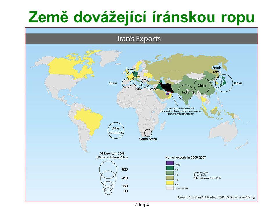 Země dovážející íránskou ropu Zdroj 4