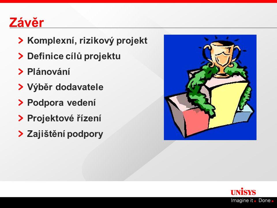 Závěr Komplexní, rizikový projekt Definice cílů projektu Plánování Výběr dodavatele Podpora vedení Projektové řízení Zajištění podpory
