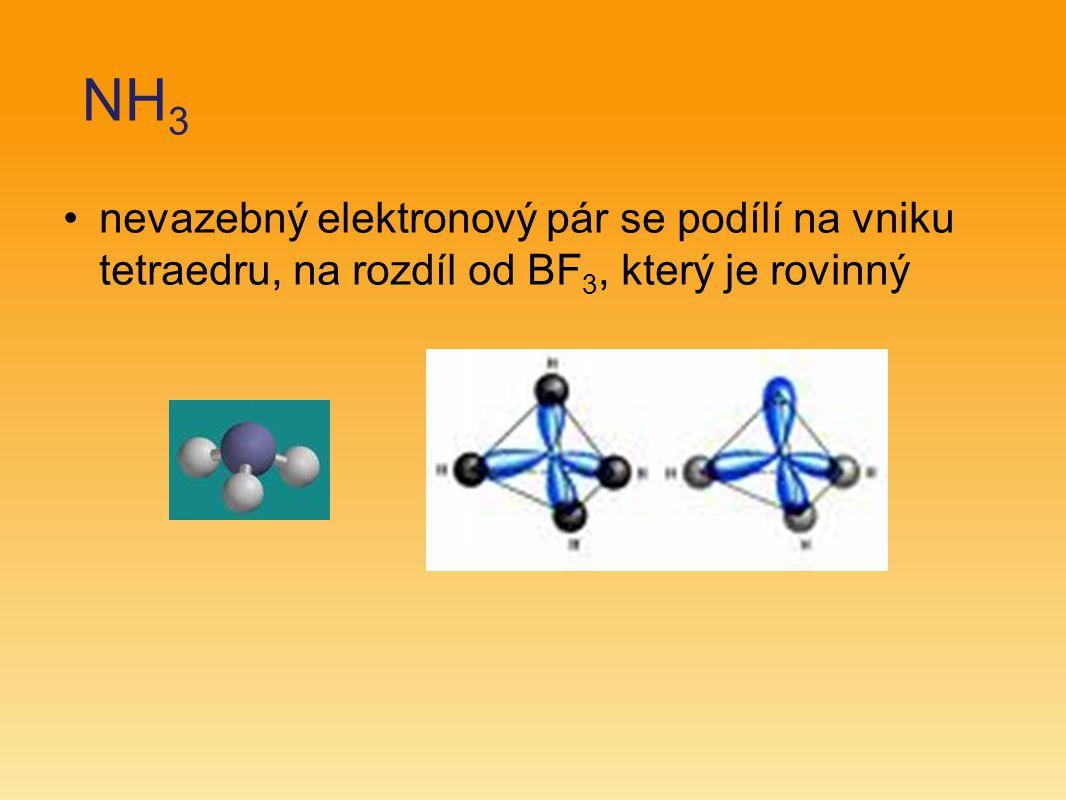 NH 3 nevazebný elektronový pár se podílí na vniku tetraedru, na rozdíl od BF 3, který je rovinný