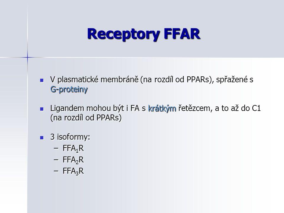 Receptory FFAR V plasmatické membráně (na rozdíl od PPARs), spřažené s G-proteiny V plasmatické membráně (na rozdíl od PPARs), spřažené s G-proteiny L