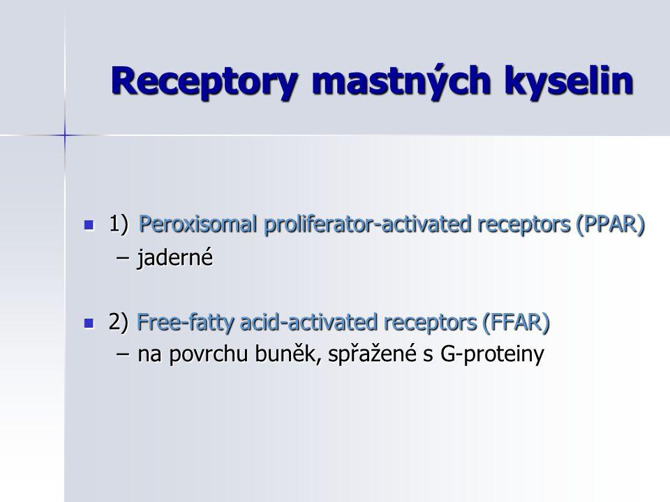 Receptory mastných kyselin 1) Peroxisomal proliferator-activated receptors (PPAR) 1) Peroxisomal proliferator-activated receptors (PPAR) –jaderné 2) F