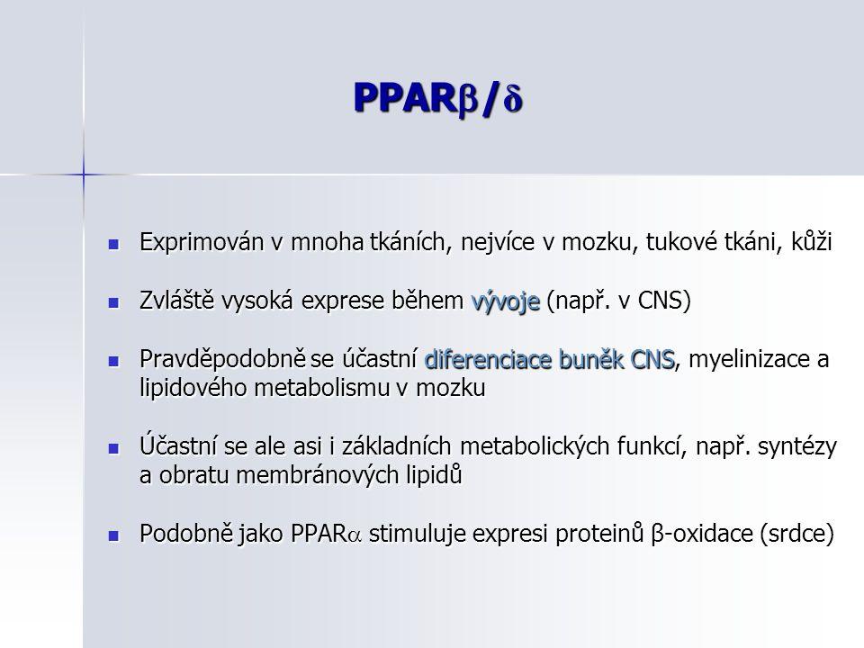 PPAR  / δ Exprimován v mnoha tkáních, nejvíce v mozku, tukové tkáni, kůži Exprimován v mnoha tkáních, nejvíce v mozku, tukové tkáni, kůži Zvláště vys