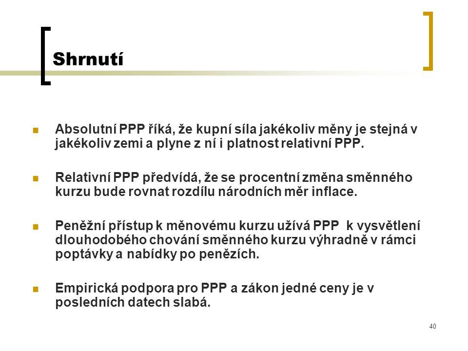 40 Shrnutí Absolutní PPP říká, že kupní síla jakékoliv měny je stejná v jakékoliv zemi a plyne z ní i platnost relativní PPP. Relativní PPP předvídá,
