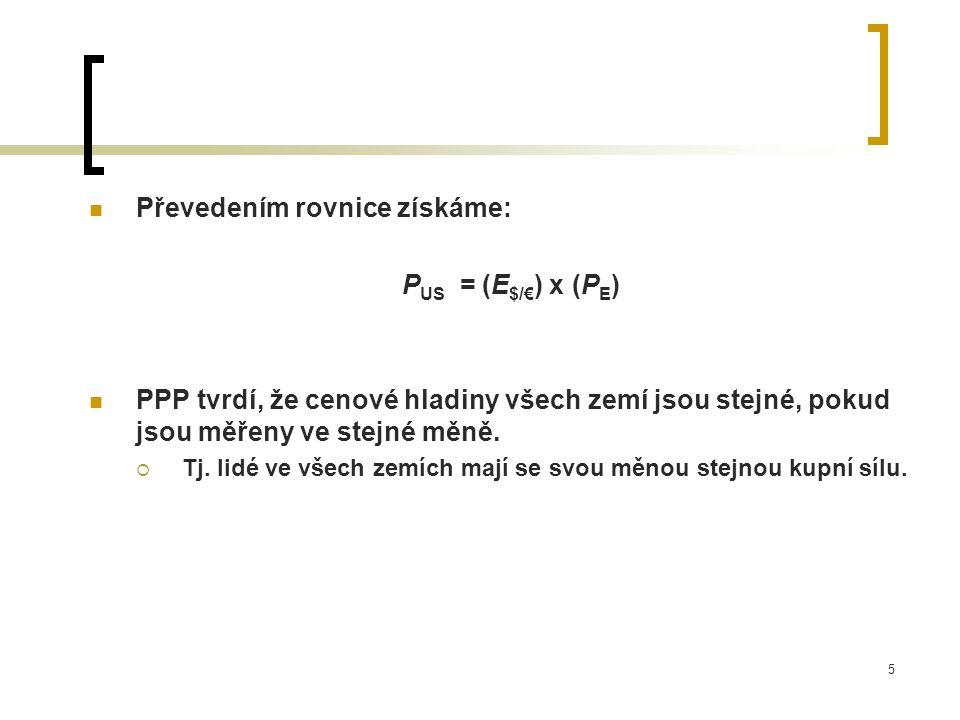 5 Převedením rovnice získáme: P US = (E $/€ ) x (P E ) PPP tvrdí, že cenové hladiny všech zemí jsou stejné, pokud jsou měřeny ve stejné měně.  Tj. li