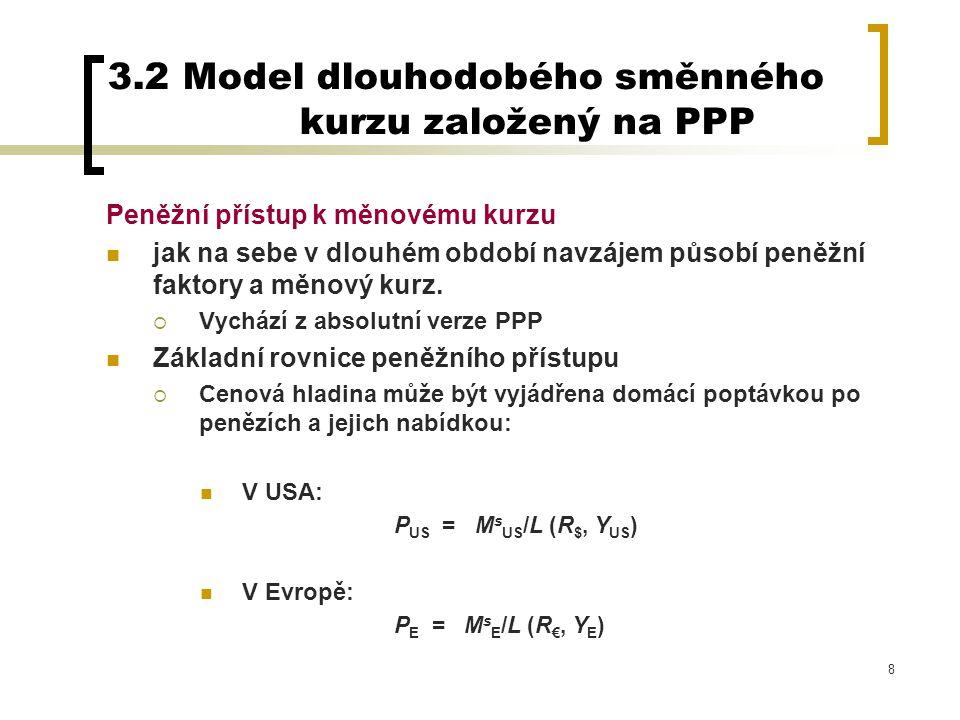 29 Podle PPP platí že kurz je determinován poměrem cenových hladin: E $/€ = P US /P EU Obecný model reálného implikuje, že směnný kurz může být také ovlivněn reálným kurzem: E $/€ = q US/EU x P US /P EU Otázka zní….co ovlivňuje reálný kurz?