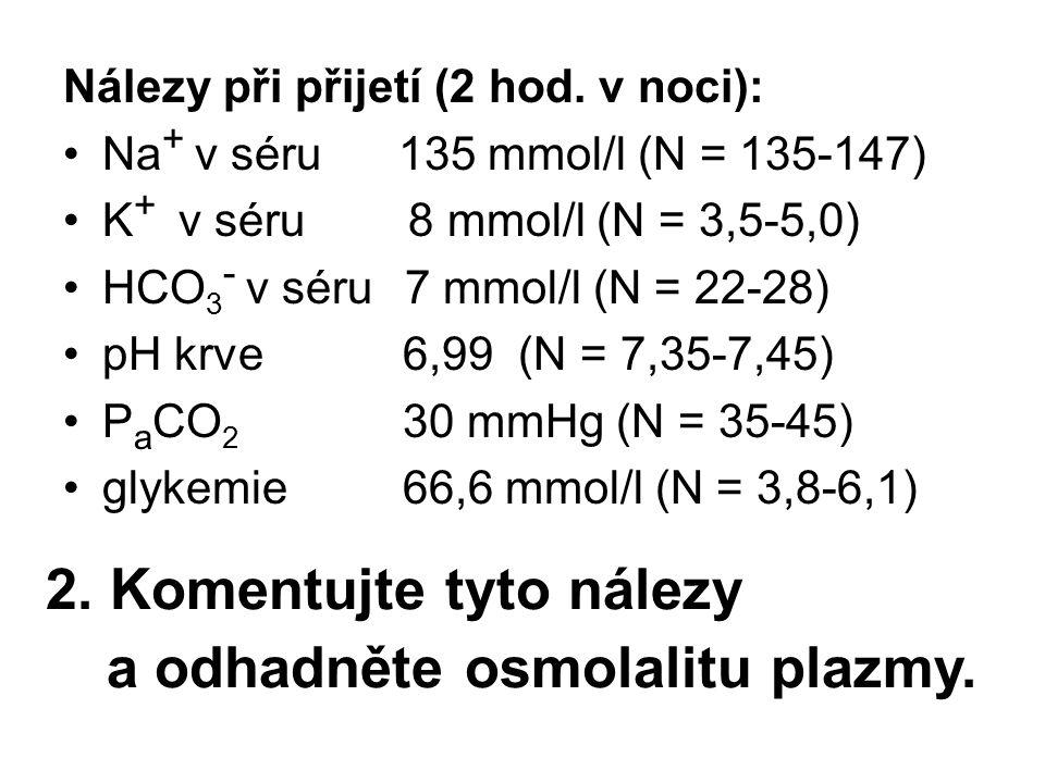 2. Komentujte tyto nálezy Nálezy při přijetí (2 hod. v noci): Na + v séru 135 mmol/l (N = 135-147) K + v séru 8 mmol/l (N = 3,5-5,0) HCO 3 - v séru 7