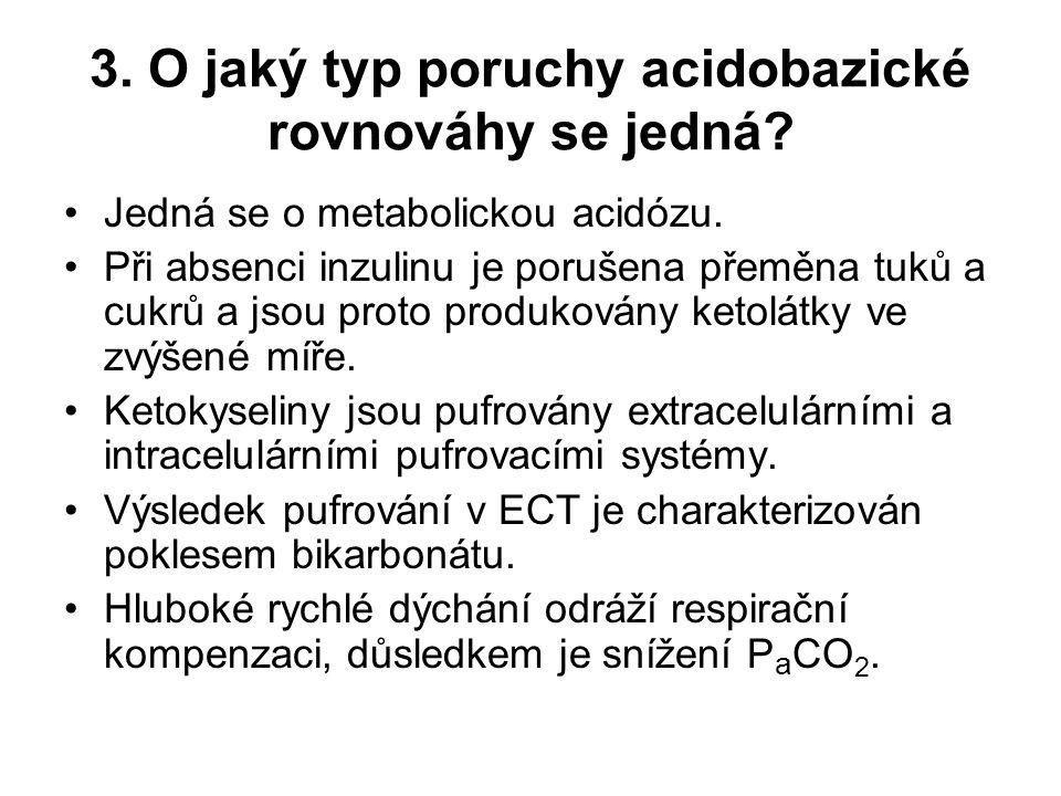 3. O jaký typ poruchy acidobazické rovnováhy se jedná? Jedná se o metabolickou acidózu. Při absenci inzulinu je porušena přeměna tuků a cukrů a jsou p