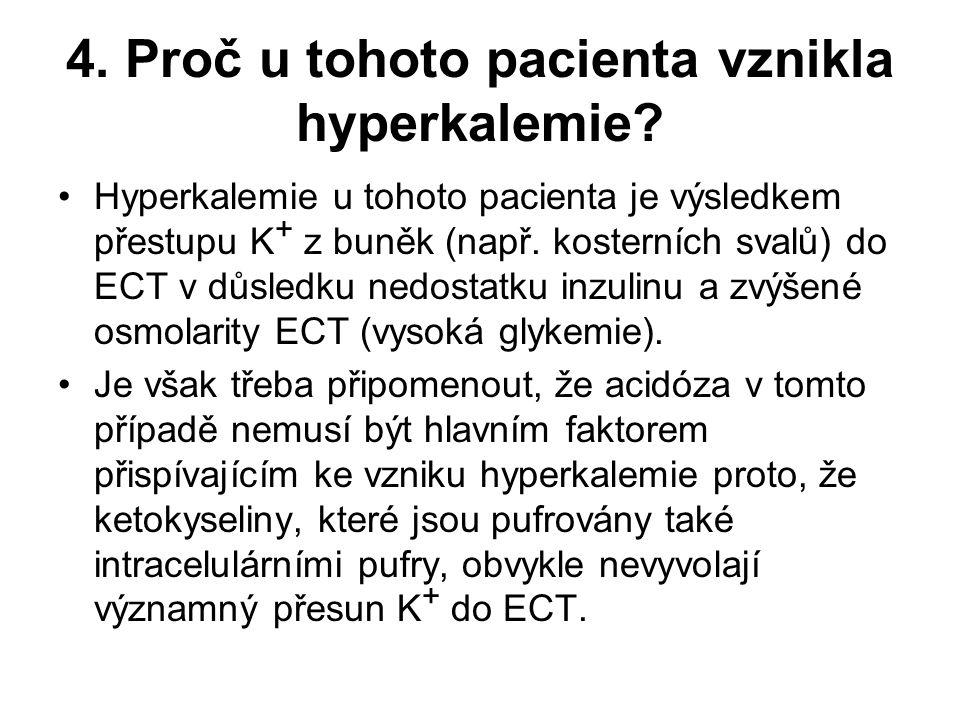 4. Proč u tohoto pacienta vznikla hyperkalemie? Hyperkalemie u tohoto pacienta je výsledkem přestupu K + z buněk (např. kosterních svalů) do ECT v důs