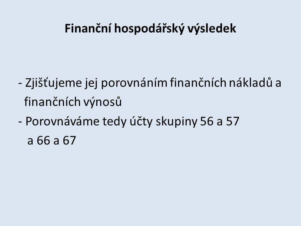 Finanční hospodářský výsledek - Zjišťujeme jej porovnáním finančních nákladů a finančních výnosů - Porovnáváme tedy účty skupiny 56 a 57 a 66 a 67