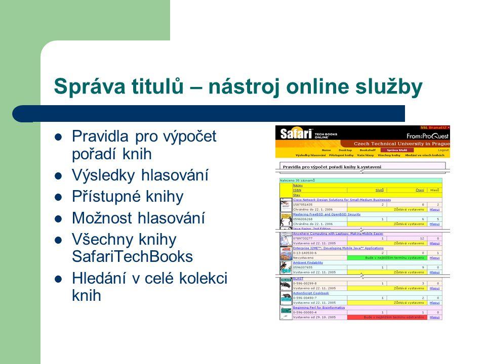 Správa titulů – nástroj online služby Pravidla pro výpočet pořadí knih Výsledky hlasování Přístupné knihy Možnost hlasování Všechny knihy SafariTechBo