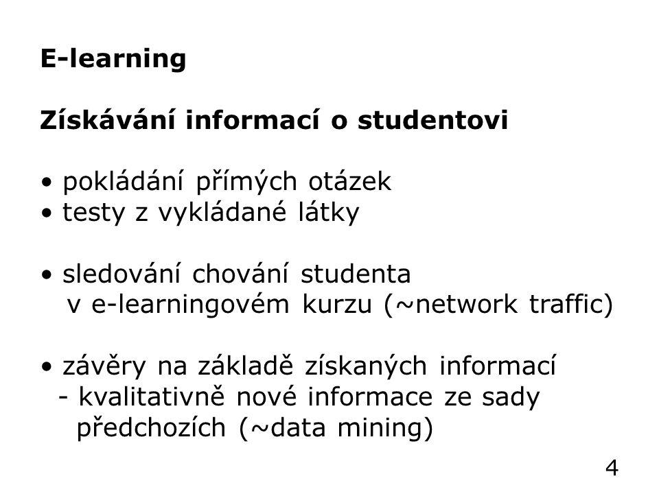 E-learning Získávání informací o studentovi pokládání přímých otázek testy z vykládané látky sledování chování studenta v e-learningovém kurzu (~network traffic) závěry na základě získaných informací - kvalitativně nové informace ze sady předchozích (~data mining) 4