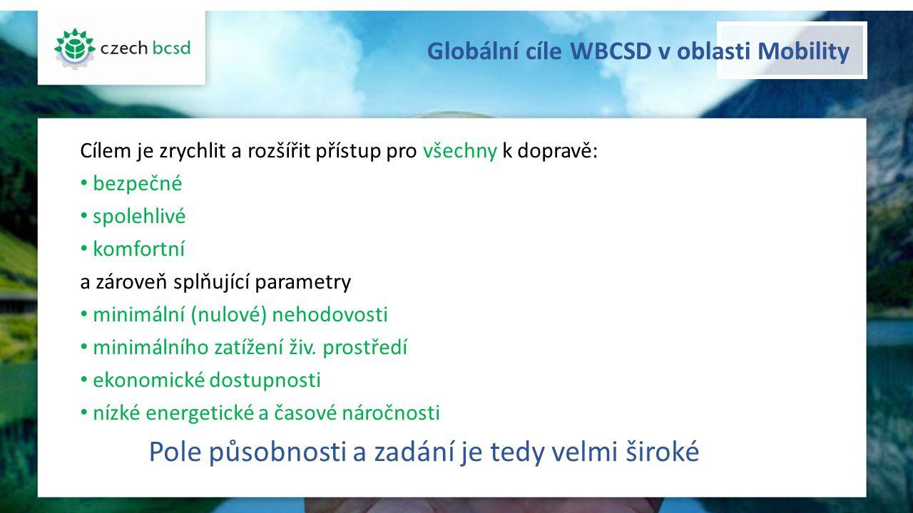 Globální cíle WBCSD v oblasti Mobility Cílem je zrychlit a rozšířit přístup pro všechny k dopravě: bezpečné spolehlivé komfortní a zároveň splňující p