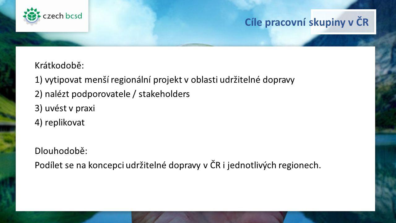 Cíle pracovní skupiny v ČR Krátkodobě: 1) vytipovat menší regionální projekt v oblasti udržitelné dopravy 2) nalézt podporovatele / stakeholders 3) uvést v praxi 4) replikovat Dlouhodobě: Podílet se na koncepci udržitelné dopravy v ČR i jednotlivých regionech.