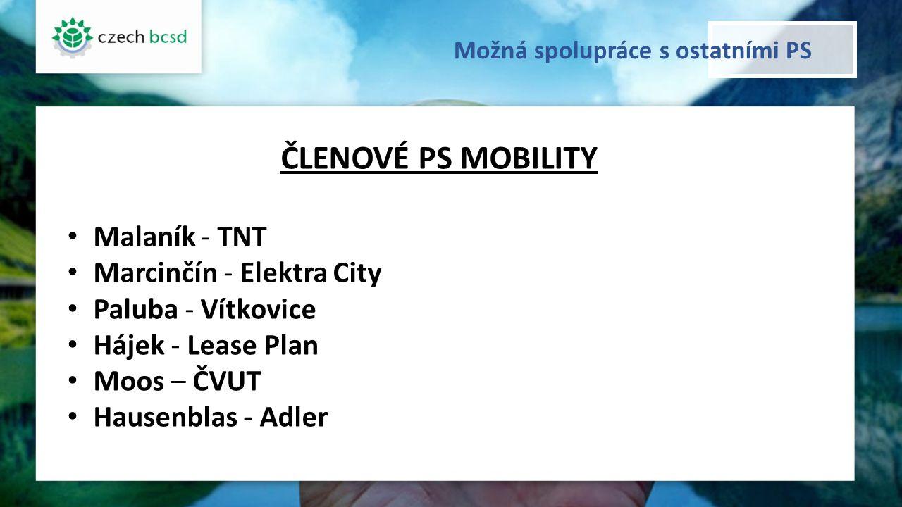 Možná spolupráce s ostatními PS ČLENOVÉ PS MOBILITY Malaník - TNT Marcinčín - Elektra City Paluba - Vítkovice Hájek - Lease Plan Moos – ČVUT Hausenblas - Adler