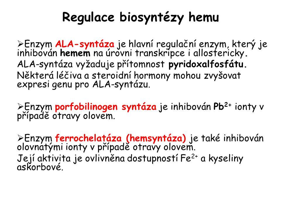 Regulace biosyntézy hemu  Enzym ALA-syntáza je hlavní regulační enzym, který je inhibován hemem na úrovni transkripce i allostericky. ALA-syntáza vyž