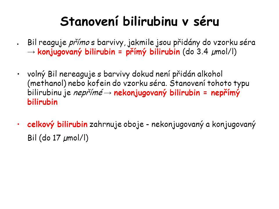 Stanovení bilirubinu v séru ● Bil reaguje přímo s barvivy, jakmile jsou přidány do vzorku séra → konjugovaný bilirubin = přímý bilirubin (do 3.4 µmol/