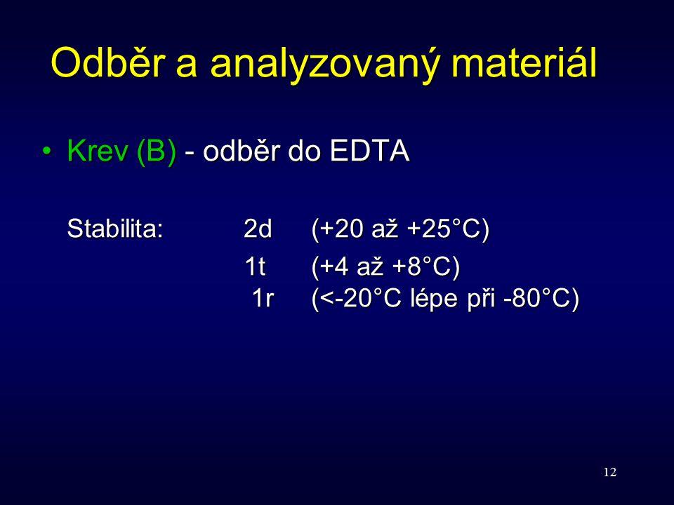 12 Odběr a analyzovaný materiál Krev (B) - odběr do EDTAKrev (B) - odběr do EDTA Stabilita:2d(+20 až +25°C) 1t(+4 až +8°C) 1r(<-20°C lépe při -80°C)